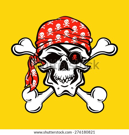 Pirate Skull on yellow background. vector illustration - stock vector