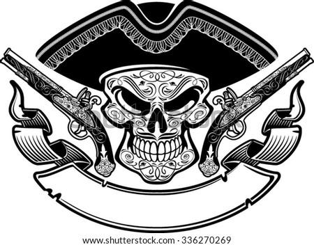 Pirate skull and guns - photo#7