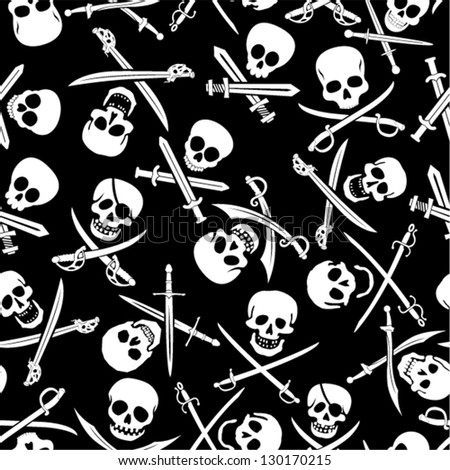 Pirate Skulls with Crossed Swords Seamless Pattern in Black & WHite - stock vector