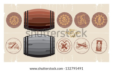 Pirate stencils on drums, 3, vector - stock vector