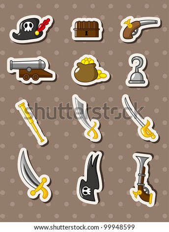 pirate stickers - stock vector