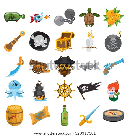 Pirate stroke icons, pirate icons with stroke