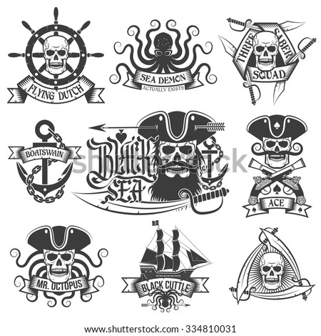 Pirate tattoo set. Unique pirate logos, perfect for t-shirt. - stock vector