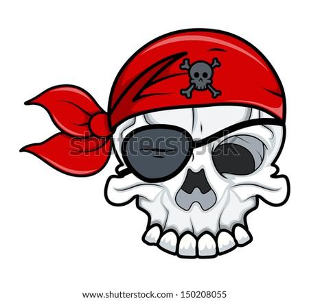 Pirate Tattoo Skull - stock vector