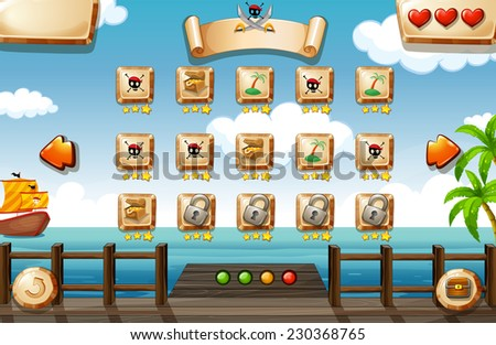 Pirate themed game elements and icons - stock vector