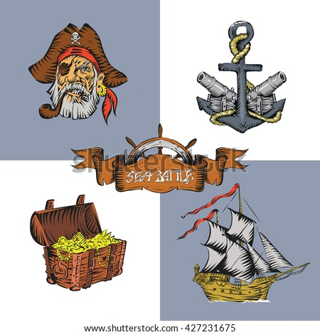 Pirate themed treasure chest cannon ship helm anchor head pirate vector - stock vector