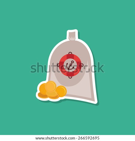 Pirate treasure bag of gold coins on blue background. Modern style flat. Vector - stock vector
