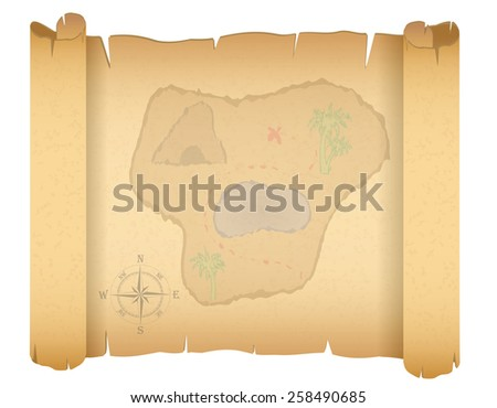 pirate treasure map vector illustration isolated on white background - stock vector