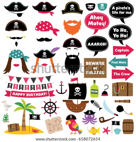 pirate vector party decoration photo booth stock vector royalty