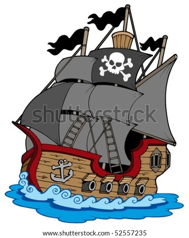 Pirate vessel on white background - vector illustration. - stock vector