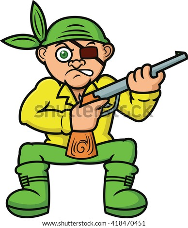 Pirate with Gun Cartoon Illustration - stock vector