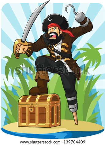 Pirate with His Treasure Chest - stock vector