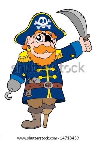 Pirate with sabre - vector illustration.