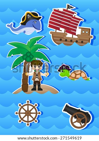 Pirates Cartoon for your design vector - stock vector
