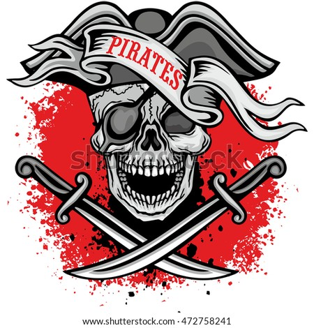 pirates coat of arms with skull, grunge.vintage design t-shirts
