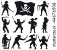 Pirates crew silhouettes Set 2 - stock photo