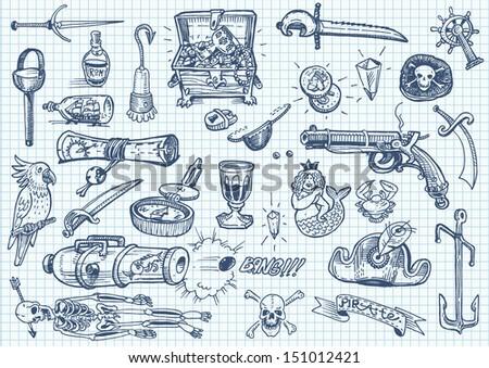 Pirates doodles set 2 - stock vector