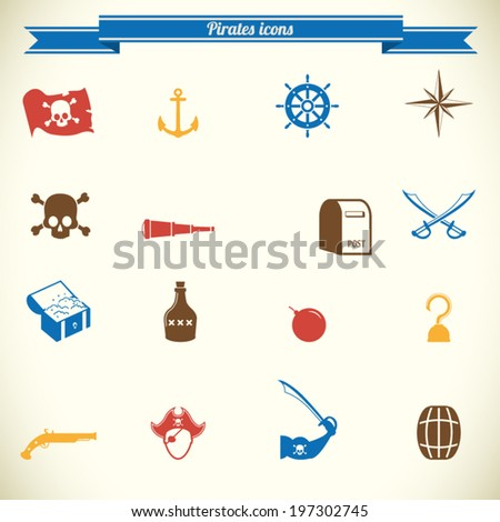 Pirates icons in color - stock vector
