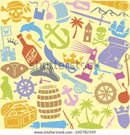 pirates icons  seamless pattern (sabre, skull with bandanna and bones, hook, triangle hat, old ship, treasure chest, anchor, rudder, map, rum, island) - stock vector