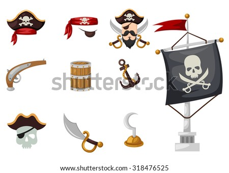 pirates icons set - stock vector