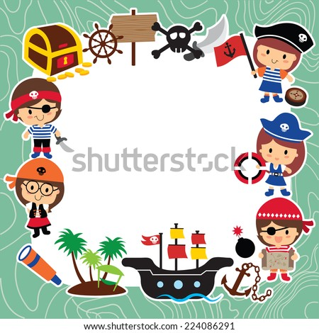 pirates kids layout design - stock vector