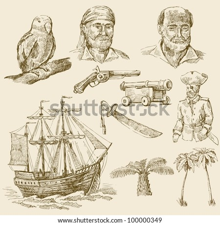 pirates set - stock vector