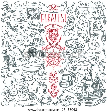 Pirates themed freehand drawings set. Symbols of piracy - hat, swords, guns, treasure chest, ship, black flag, jolly roger emblem, skull and crossbones, compass, costume elements.  - stock vector