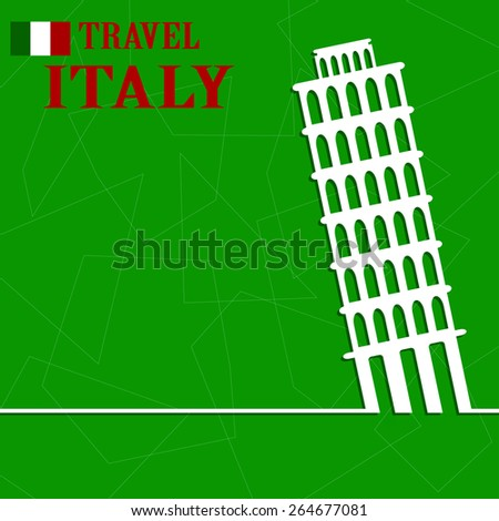 Pisa label or logo over geometric background. Italy symbol for your design. Vector illustration. - stock vector