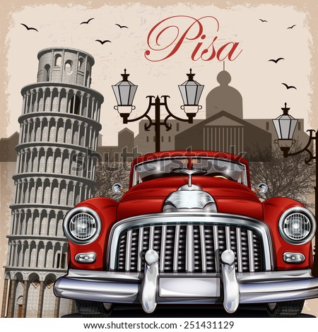 Pisa retro poster. - stock vector