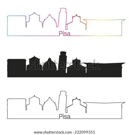 Pisa skyline linear style with rainbow in editable vector file - stock vector