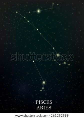 Pisces and Aries constellation - stock vector