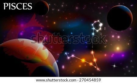Pisces - Space Scene with Astrological Sign and copy space - stock vector