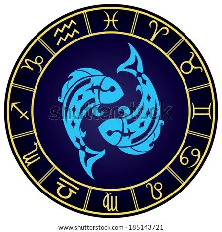 Pisces zodiac sign in the golden frame. Vector Illustration  - stock vector
