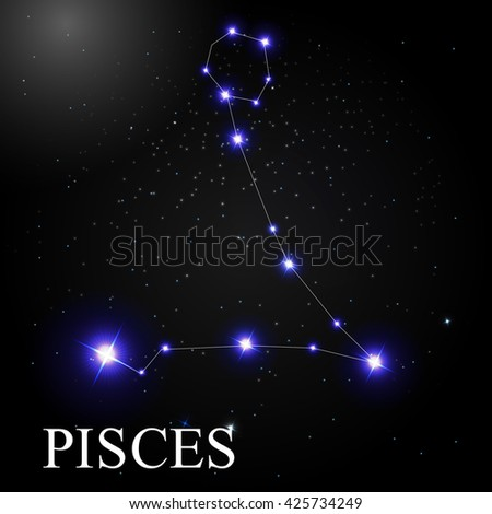 Pisces Zodiac Sign with Beautiful Bright Stars on the Background of Cosmic Sky Vector Illustration EPS10 - stock vector