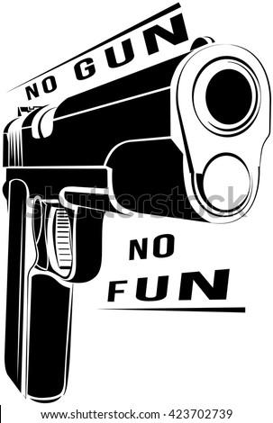 Pistol 1911 gun fire. 45 caliber. Pistol emblem logo. Criminal arm pistol gun and danger military weapon. No gun no fun - stock vector