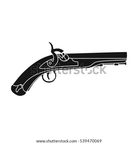 Pistol icon in black style isolated on white background. England country symbol stock vector illustration.