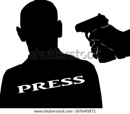 pistol man threatens journalist. - stock vector