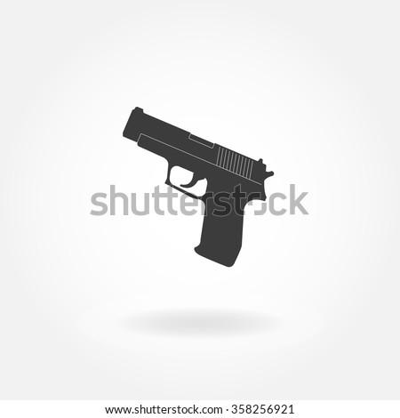 Pistol or gun icon. Black Gun illustration. Vector gun. - stock vector