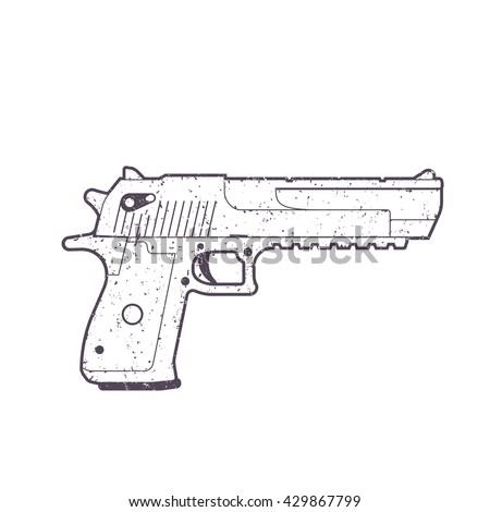 pistol outline, handgun, gun isolated on white - stock vector