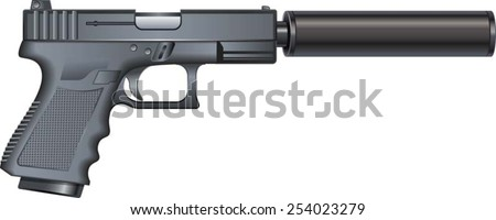pistol with silencer - stock vector