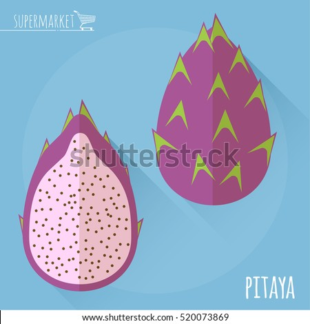 Pitaya.  Long shadow flat design vector icon.