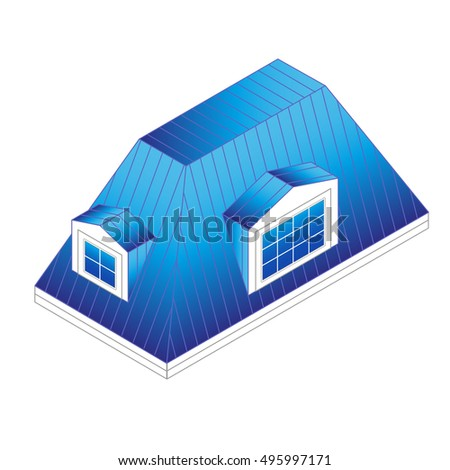 Pitched Mansard Roof With Dormer Windows. Building Roof Type: Mansard Roof.pitched  Roof