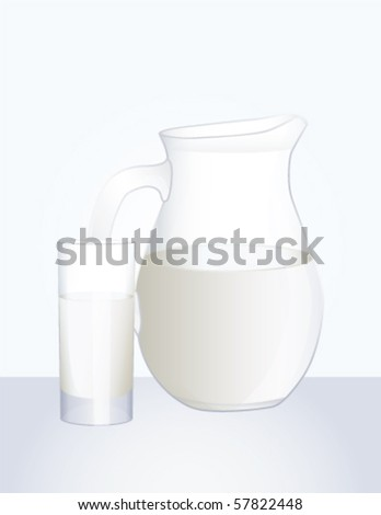 Pitcher and glass of milk, vector - stock vector