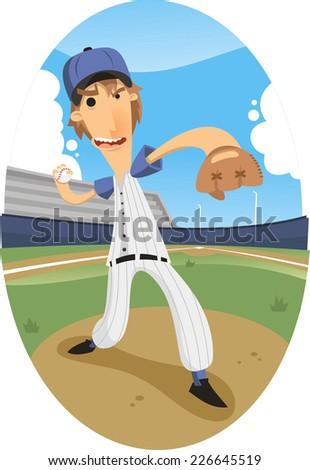 pitcher throwing a fastball at a baseball game at a stadium. - stock vector