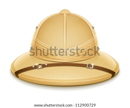 pith helmet hat for safari vector illustration isolated on white background EPS10. Transparent objects and opacity masks used for shadows and lights drawing - stock vector