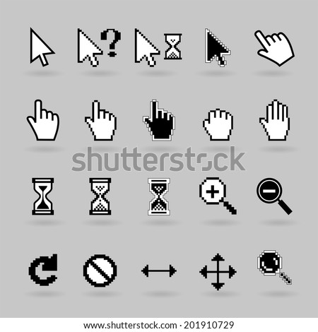 Pixel and smooth vector cursors icons. Hand, magnifier  and  hourglass - stock vector