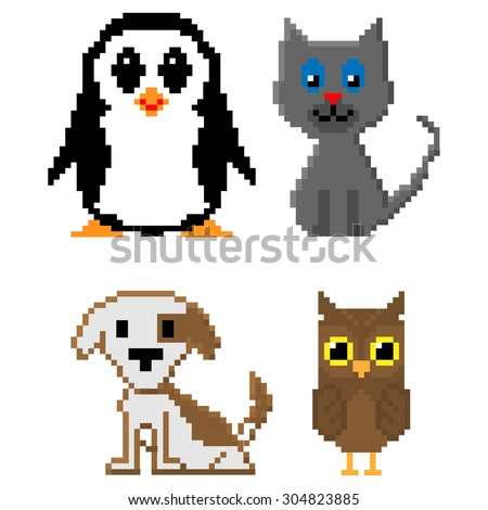 Pixel animals set