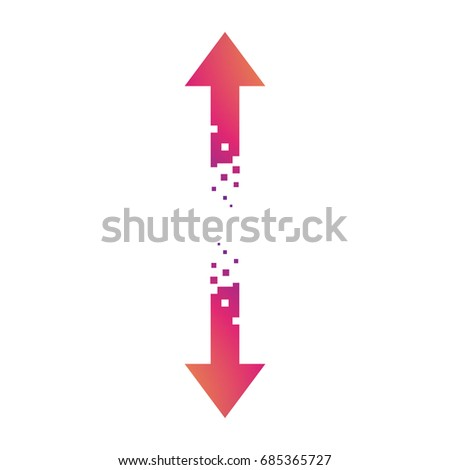 Pixel Arrows Symbol Color Gradient Pointing Stock Vector Hd Royalty