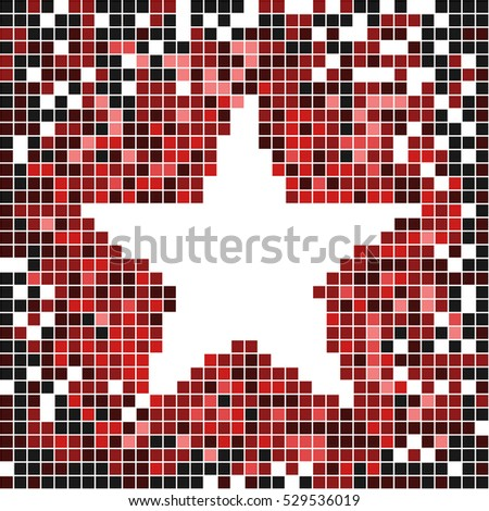 Pixel art banner with star in center. Red abstract vector.