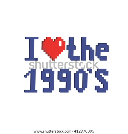 Pixel art 8 bit cartoon illustration isometric isolated blue lettering pixel 8 bit red heart style old school I love 1990's isolated on white background / vector eps 10 - stock vector